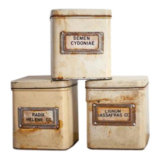 Vintage German Apothecary Tin Canisters - Set of 3 For Sale