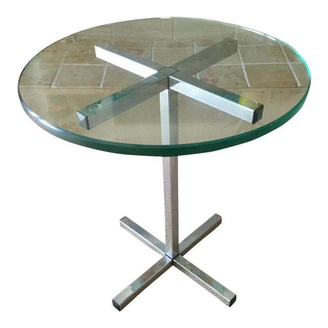 Mid Century Chrome and Glass Coffee / Side Table For Sale