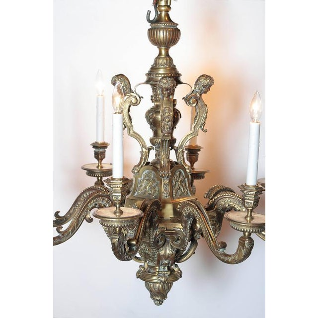 Ornate 19th Century French 8-Light Bronze Chandelier with Cherubs and Faces - Image 6 of 10