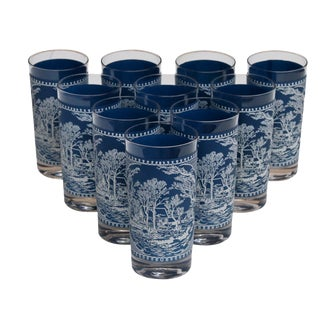 Blue & White Glass Tumblers, Set of 10