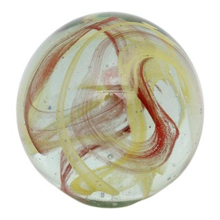 Vintage Artisan Glass Paperweight Yellow Swirl For Sale