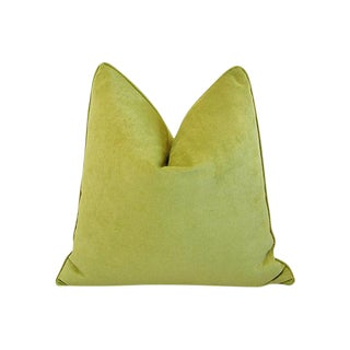 Custom Tailored Apple Green Velvet Feather/Down Pillow For Sale
