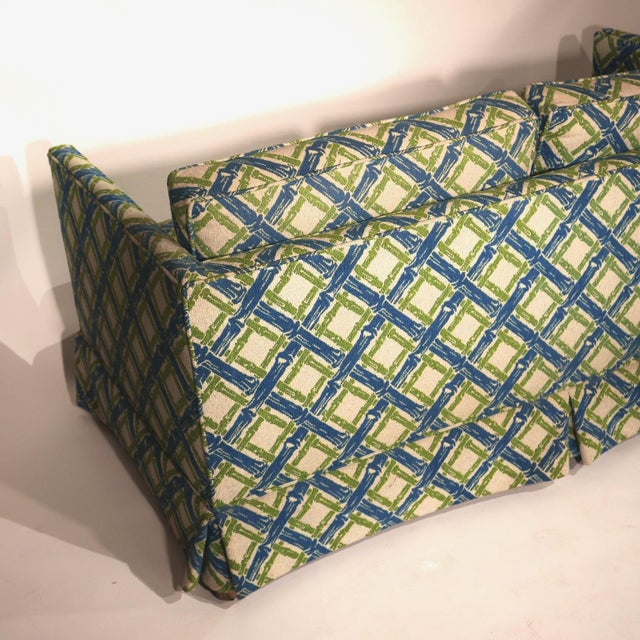 Pair of Regency Chinoiserie Tuxedo Settees in Lattice Bamboo Upholstery For Sale - Image 9 of 13
