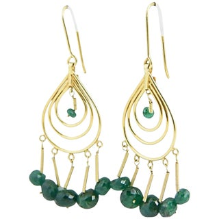 Dangling Emerald Gold Teardrop Earrings For Sale