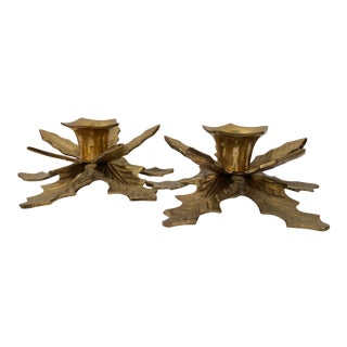 Vintage Brass Holly Candle Taper Holders - a Pair For Sale