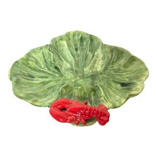 1980s Cottage Green Cabbage Leaf Lobster Majolica Platter