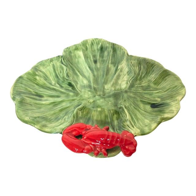 1980s Cottage Green Cabbage Leaf Lobster Majolica Platter For Sale
