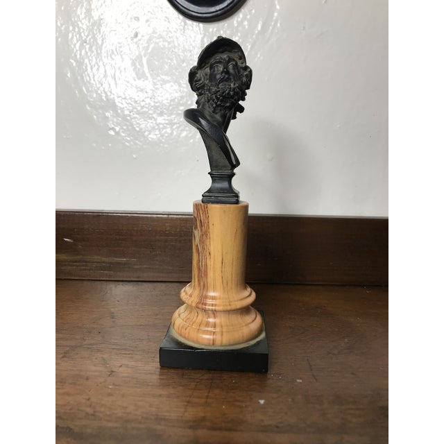1940s 20th Century Grand Tour Tall Marbleized Column With Roman Warrior Bust For Sale - Image 5 of 12