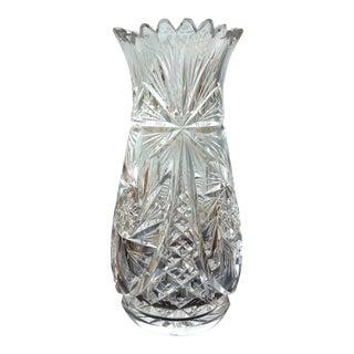 Antique Hand Cut Crystal Vase For Sale