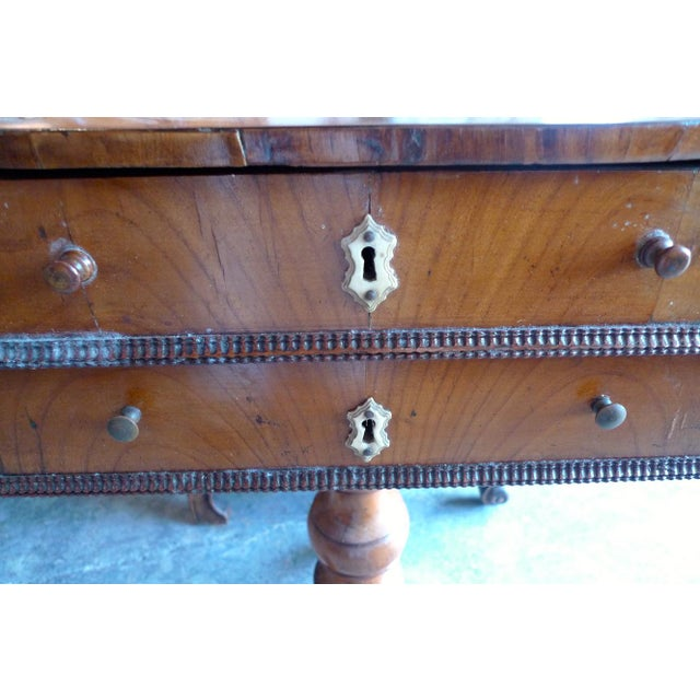 19th Century French Two Drawer Sewing Table With Inlay Top For Sale - Image 10 of 13