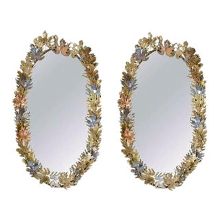 Brutalist Signed Curtis Jere Oval-Leaf Wall Mirrors - A Pair For Sale