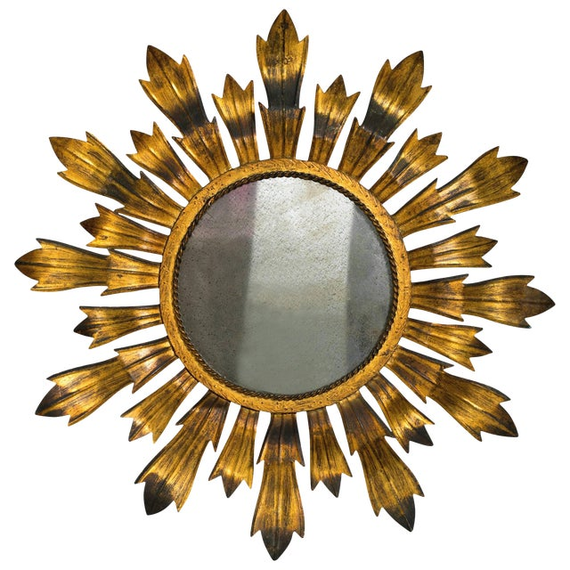 Gold Gilt Metal Sunburst Mirror For Sale - Image 8 of 8