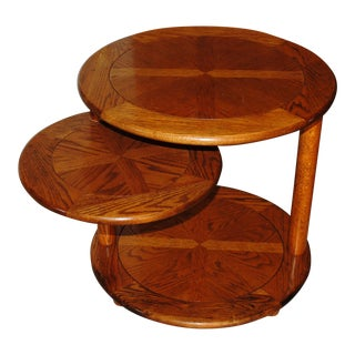 1970's Mid-Century Modern Oak Swivel End Table For Sale