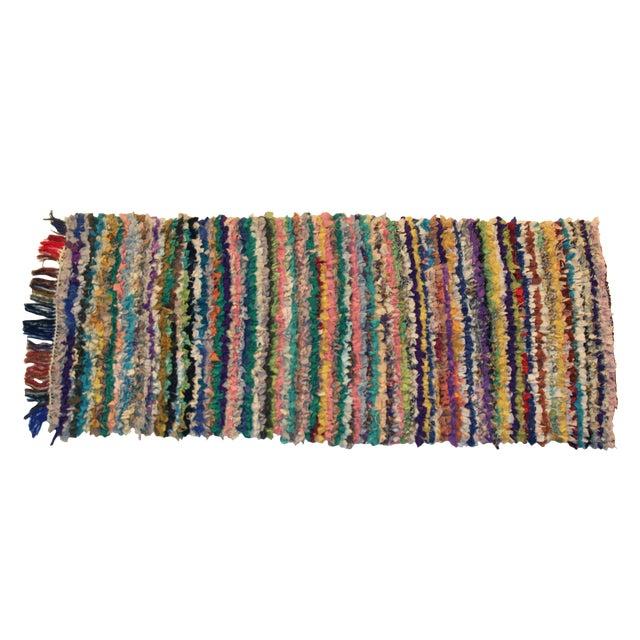 Vintage Boucherouite Rag Rug - 2′8″ × 6′ For Sale