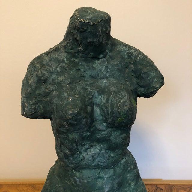 Mid-Century Modern Mid-Century Verdigris Nude Bust Sculpture For Sale - Image 3 of 11