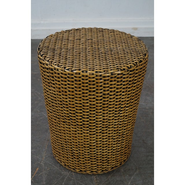 Woven Wicker Wrapped Cylinder End Tables - A Pair For Sale - Image 5 of 10