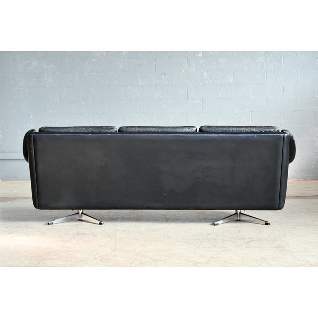 Danish Airport Style Sofa Model Matador in Black Leather by Eran in 1966 For Sale - Image 11 of 13