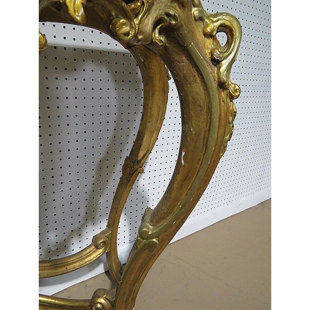 Gold Florentine Style Marble Top Console With Mirror For Sale - Image 8 of 12