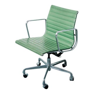 Herman Miller Eames Cactus Green Leather & Aluminum Office Chair For Sale