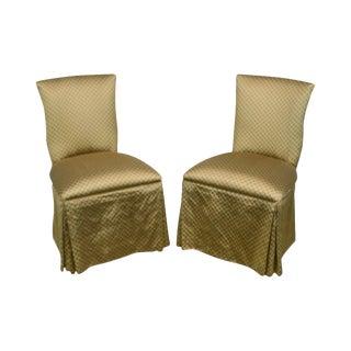 Custom Pair of Catania Dobby Lattice Silk Upholstered Boudoir Slipper Chairs For Sale