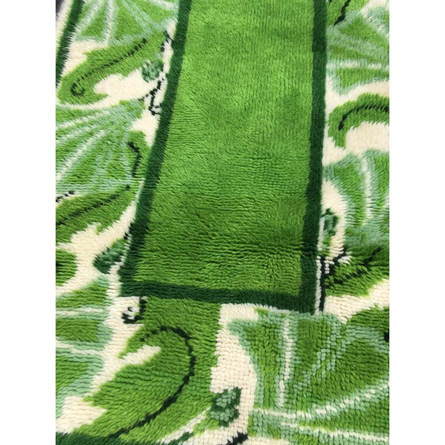 Abstract 20th Century Scandinavian Modern Green and White Paisley Wool Rya Shag Rug For Sale - Image 3 of 10