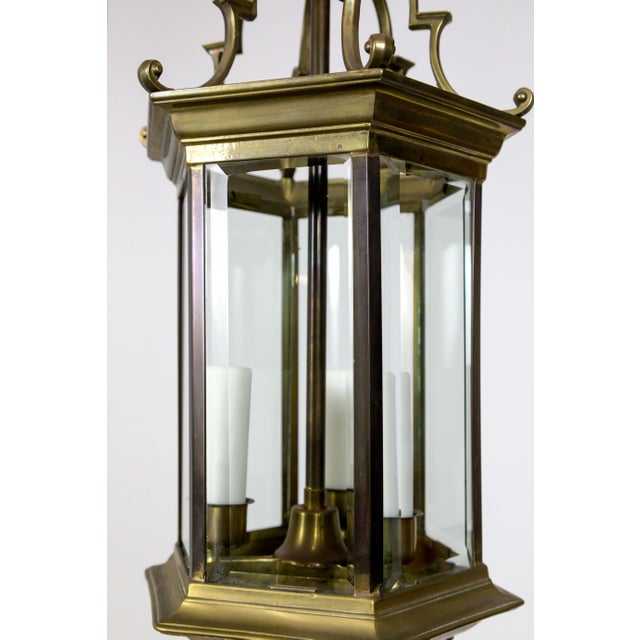 Mid 20th Century Mid-Century Italian Pagoda-Esque Bronze & Beveled Glass Lantern For Sale - Image 5 of 12