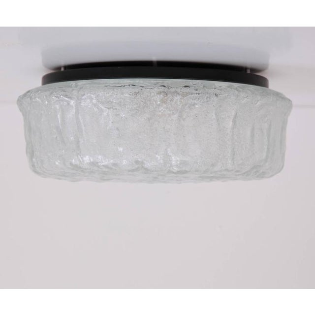 Very Large Textured Ice Glass Flush Mount or Sconce by Glashütte Limburg For Sale - Image 6 of 6