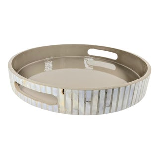 Capiz Lacquered Gray Decorative Round Tray For Sale