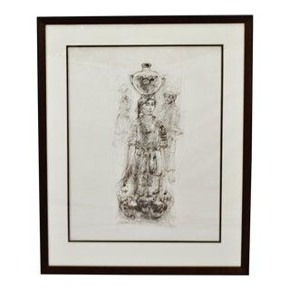 Vintage Framed Edna Hibel Mayan Water Carrier II Pencil Signed Lithograph For Sale