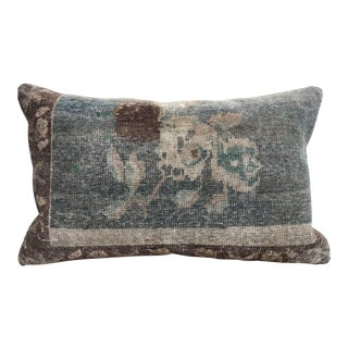 20th Century Turkish Green & Khaki Rug Pillow For Sale