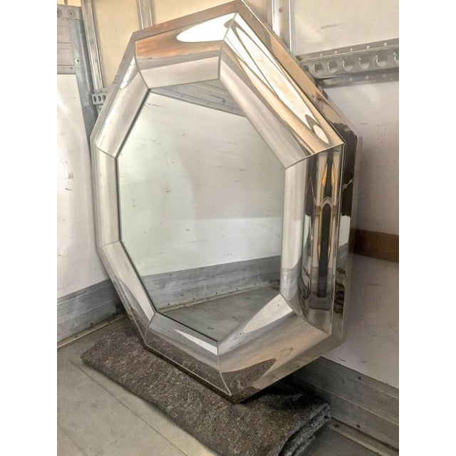Contemporary Andre Hayat Octagonal Steel Mercury Curved Glass Spectacular Exclusive Mirror For Sale - Image 3 of 5