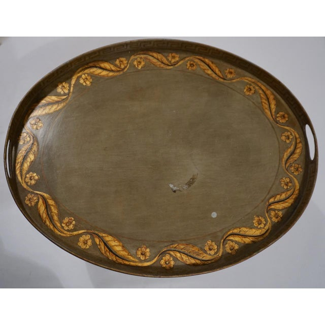 Vintage Italian Tole Table on Gold Bamboo Stand For Sale In San Diego - Image 6 of 11