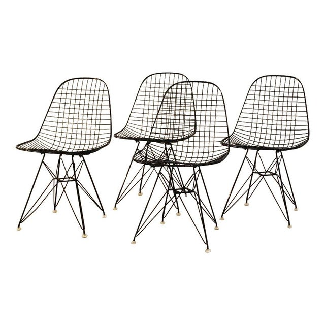 Black Original Eames Wire Chairs - Set of 4 For Sale