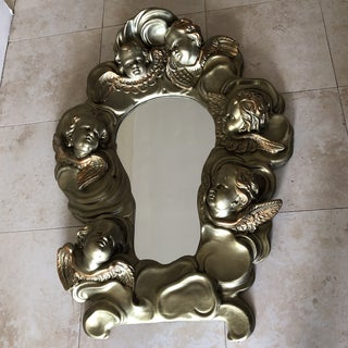 Vintage Gold Gilded Three Dimensional Cherub Mirror Preview