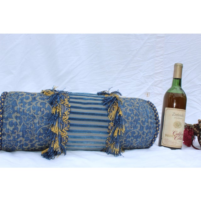 Contemporary Small Small Silk and Velvet Bolster Pillow in Blue and Gold For Sale - Image 4 of 13