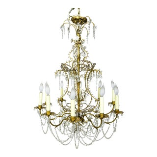French Crystal Beaded & Brass Curls Chandelier For Sale