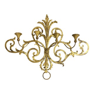 1960s Large Gilt Metal Italian 4 Arm Candle Wall Sconce For Sale