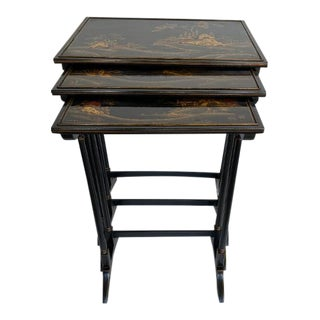 Nesting Tables With Chinoiserie - Set of 3 For Sale