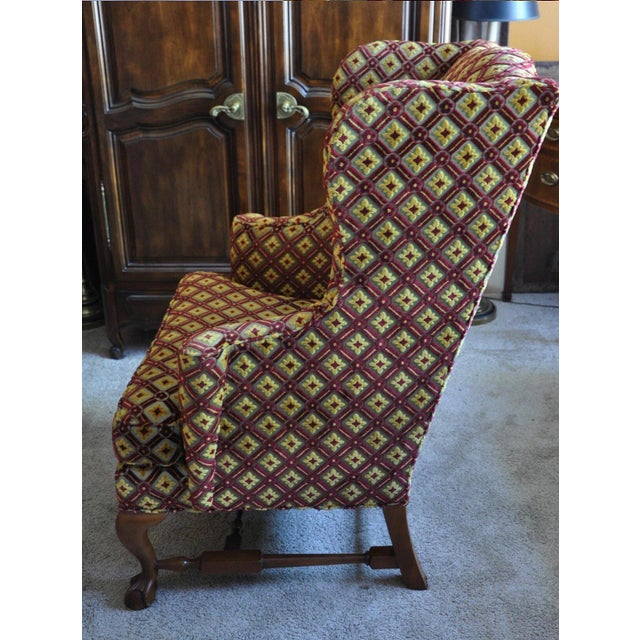 Yellow Baker Wingback Chairs - A Pair For Sale - Image 8 of 8
