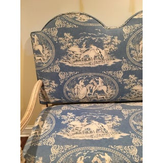 1940s Vintage Blue Toile Bench or Settee Preview