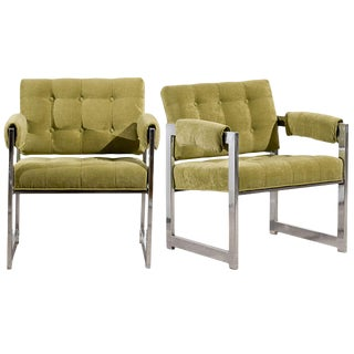 Stylish Pair of Milo Baughman Lounge/Club Chairs in Lime Chenille For Sale