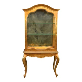 1940-1950s Weiman Louis XV Style Gold Leaf Curio Cabinet For Sale