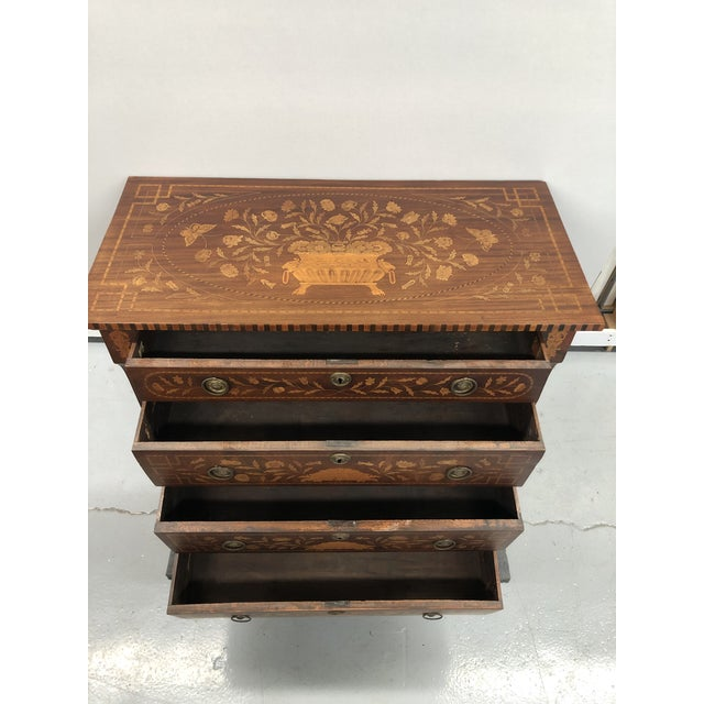 Coffee Early 19th Century Dutch Hardwood Inlaid Four Drawer Chest For Sale - Image 8 of 13