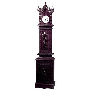 Asian Burmese Style Rosewood Carved and Filigree Grandfather Clock For Sale