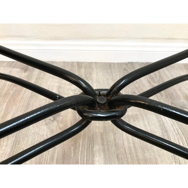Black Hollywood Regency Brass & Iron Glass Top Coffee Table For Sale - Image 8 of 11