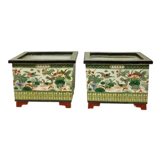 Late 20th Century Vintage Chinese Planters - A Pair For Sale