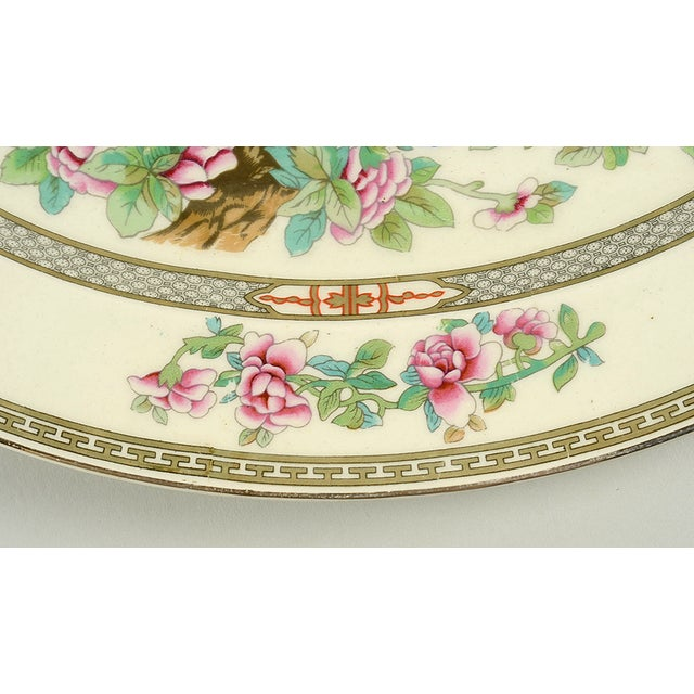"""Crown Ducal Indian Tree 14"""" Oval Serving Platter features multicolor floral tree design with greek key accents and gold..."""