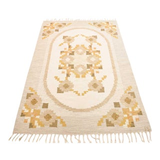 "Vintage Ingegerd Silow Mid-Century Swedish Flat Weave Rug - 6'6"" X 4'4"" For Sale"