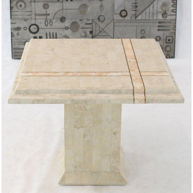 Brass Pair of Tessellated Stone Tile Square Pedestal Shape End Side Tables Stands - A Pair For Sale - Image 7 of 11