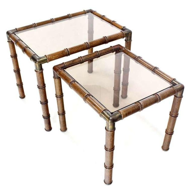 Mid-Century Modern Mid Century Modern Faux Bamboo Nesting Stacking End Tables- a Pair For Sale - Image 3 of 10